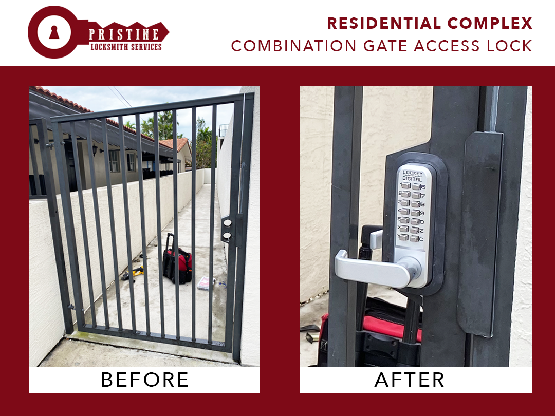 Residential Complex, Combination Gate Access Lock