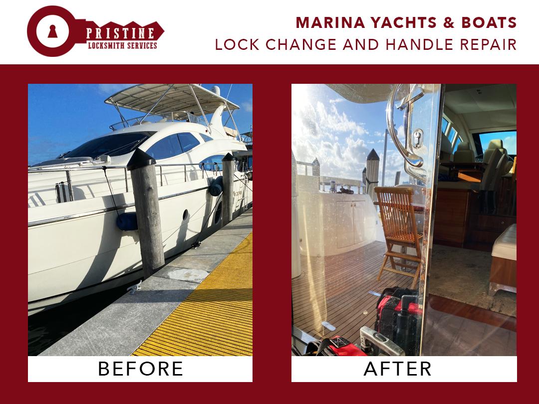 Marina Yachts & Boats, Lock change and handle repair